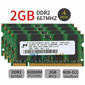 8GB 4x 2GB / 1GB PC2-5300S DDR2 667 200PIN SO-DIMM Laptop Memory For Micron lot