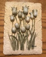 Ceramic Embossed Hanging Tile- Sculptured Raised Flowers- Blum 6 X 4 1