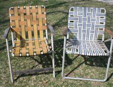 2 Vintage Mid Century Aluminum Chair Folding Lawn Patio Pair Wood Arms Webbing