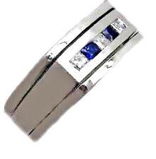 MEN'S UNIQUE RING 0.65CT G COLOR DIAMOND PRINCESS CUT SAPPHIRE 14K WHITE GOLD!!