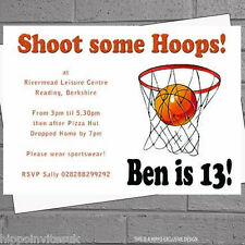 Personalised Basketball Hoop Birthday Party Invitations x 12 with envs H0931
