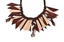 Collana stile etnico in legno, tessuto e perline