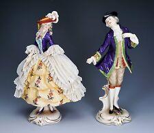Antique Furstenberg Porcelain Lady Dresden Lace and Fan w/ Man - Gorgeous