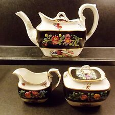 3 PC.ANTIQUE SPODE CHELSEA BIRD TEAPOT CREAMER AND SUGAR BLACK MULTI COLORS NICE