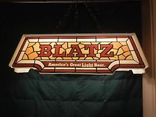 VINTAGE Blatz Beer  Faux Stained Glass Pool Table Hanging Lamp- 100% Working