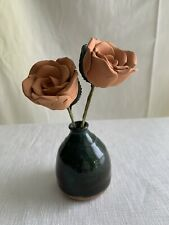 New ListingVintage Handmade Pottery Vase And Clay Flowers Roses Signed