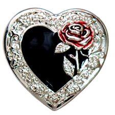 "5500-RC 1 1/4""  Black Heart & Red Rose Decorative Rivet Concho"