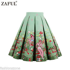 ZAFUL Retro Vintage 1950s 60s Rockabilly Skirt Pinup Swing Pleated Midi Dress