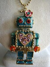 BETSEY JOHNSON LARGE TEAL GREEN GLITTER ROBOT LONG LOCKET NECKLACE~RARE