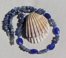 "Blue Sapphire & Blue Aventurine Gemstone Statement Necklace ""Serene Blue"""