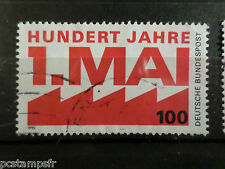 ALLEMAGNE FEDERALE RFA, 1990 GERMANY, timbre 1291, 1° MAI, oblitéré VF STAMP