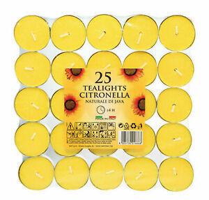 25 Citronella Tealight Candles Mosquito Fly Insect Repeller Tea Light Fragranced