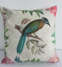 Top Quality - Exotic Tropical Bird and Flowers Faux Silk Cushion Cover 45cm