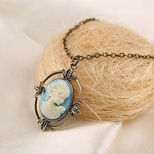 New Vintage Bronze Vampire Diaries Katherine Cameo Long Pendant Necklace