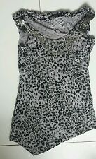 Women's Fashion Fantasy  top grey animal color  size 8 BNWOT