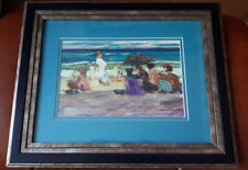 DAVID DRUM 1944- OIL PAINTING MIXED-MEDIA SIGNED BLUSTERY DAY OLD CRYSTAL BEACH