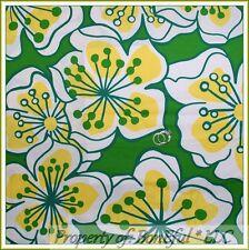BonEful Fabric Fq Cotton Quilt Vtg Lg Flower Retro John Deere Green Yellow White