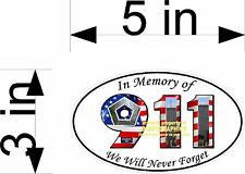 9-11 911 IN MEMORY OF OVAL DECAL VINYL NEW GRAPHICS