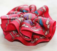 """Southwest Flare Round Hair Bow on a 3"""" bow clip barrette new, perfect"""