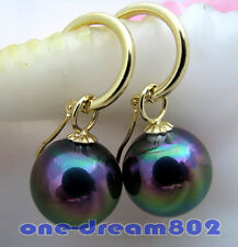 Attractive 16mm round black shell pearl dangle earring