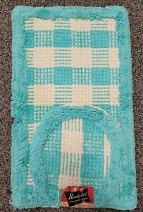 Vtg NOS Mid Century Blue Plaid Beauty-Tred Scatter Throw Bath Rug & Toilet Cover
