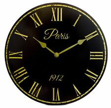 Black Vintage Style Wall Clock with Roman Numerals 30cm