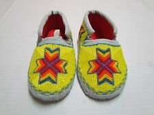 AMERICAN MOCCASINS - STUNNING YOUTH YELLOW FULLY BEADED WITH ACCENTS - 7 1/2 IN