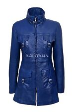 'MISTRESS' Ladies Blue Gothic Style Fitted Real Lambskin Leather Jacket Coat