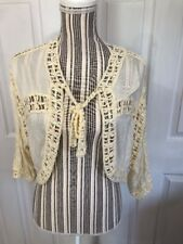 Hot in Hollywood Women's Size M Lace Front Beaded Beige Cardigan A-8