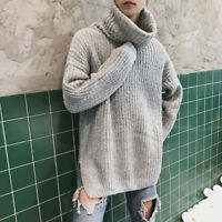 Mens Thicken Loose Cashmere Tops High Neck Knitted Sweaters Warm Pullover New