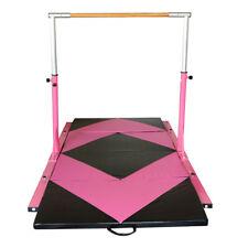 Adjustable Horizontal Bar Gymnastics 13 Height Options Foldable Mat Pink & Black