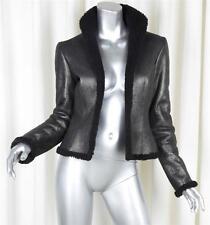 RALPH LAUREN BLACK LABEL Womens Black Leather Shearling Jacket Coat US 4
