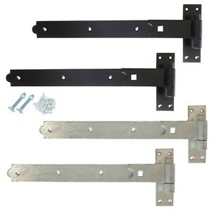 Heavy Duty Hook and Band Gate Hinges Garden Shed Door Galvanised or Black UK