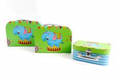 Kinderkoffer 3er Set Pappkoffer Spielzeug Box Kinder Kofferset Elefant Typ488