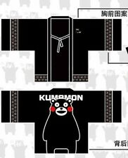 Men Japanese Soft Chiffon Outwear Casual Black Kumamon Kimono Style Coat Tops