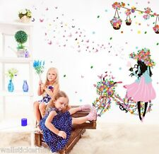 Black Friday Butterfly Flower Girl Removable Wall Sticker