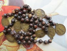 1800's Antique Servite Seven Sorrows Brown Wood Beads Rosary-Brass Medals