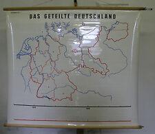 Schulwandkarte Wandkarte geteilte Deutschland Teilung Tischdecke 130x113cm ~1965