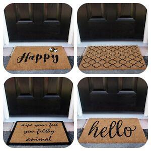 Natural Coir Doormats Trellis Hello Welcome Outdoor Mats Budget Non Slip Doormat