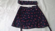 Ballet skirt wrap over dance skirt lightweight RED LIPS elastic tie belt. medium