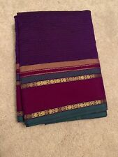 India POLYESTER COTTON PURPLE Green SILK SAREE with BLOUSE Fashion Gold Zari NEW