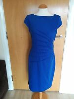Ladies KALEIDOSCOPE Dress Size 10 Blue Ruched Middle Wiggle Pencil Stretch Party