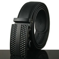 New Men Cool Black Auto Lock Buckle Waist Strap Business Genuine Leather Belt