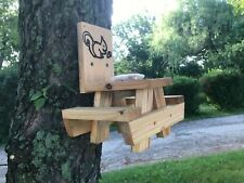 New listing squirrel feeder picnic table hand made