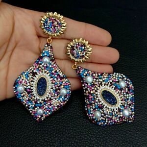 White Pearl blue titaniumAgate Druzy Multi color Macacrsite Stud Earrings