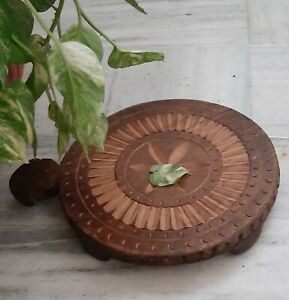 Antique wooden carved chapati board Indian bread rolling plate old roti maker