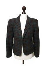 Jigsaw Women Vintage Jacket Blazer 10/ 12 Teal Blue Tweed Check Power Heritage