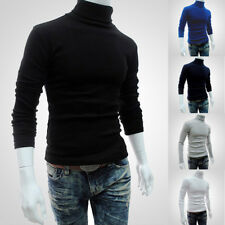 UK Mens Plain Sweatshirt Knitted Polo Roll Turtle Neck Pullover Jumper Work Top