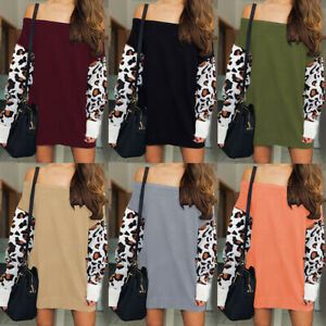Women Contrasting Color Sexy Stitching Leopard Print Sweater Blouse Top Pullover
