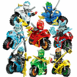 Ninjago Lego Mini figures Motorcycle Set Bike Ninja Figures Custom Blocks 8Pcs